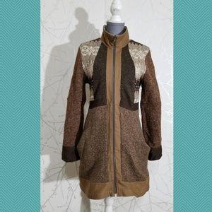 Handcut Preloved Reclaimed Wool Full Zip Coat
